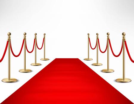 Czerwony dywan ceremonialne wydarzenie vip lub szef państwa odwiedź realistyczny obraz z złota bariery ilustracji wektorowych