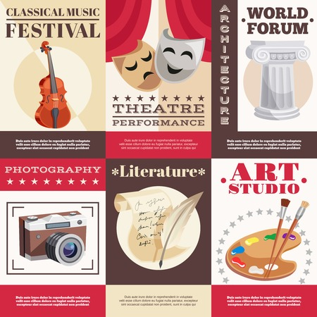 theatrical performance: Arts set of posters with music festival theatrical performance architecture literature photography painting studio isolated vector illustration