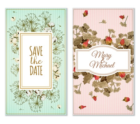 dry flowers: Two variants of printable marriage invitation cards in pastel colors with dry flowers vintage decoration vector illustration Illustration