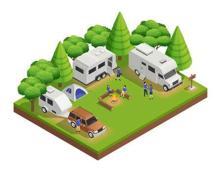 Recreational vehicles isometric composition with trailer people and forest vector illustration Illustration