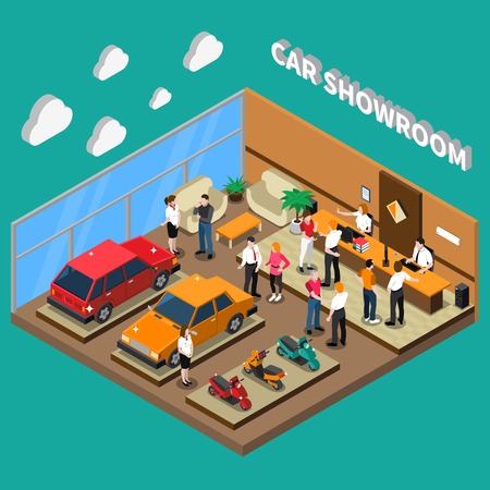 computer equipment: Car showroom with managers and customers computer equipment vehicles interior elements on turquoise background isometric vector illustration Illustration