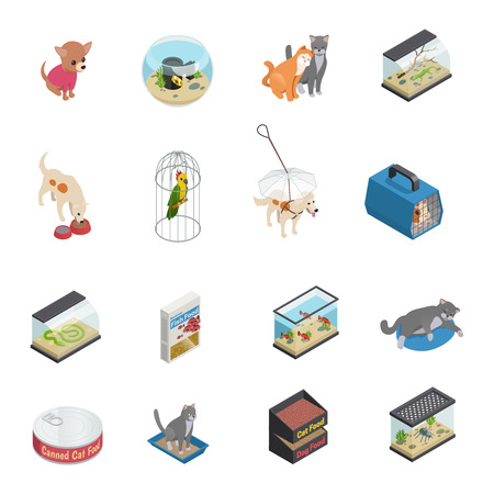 Pet shop isometric icons set with cats and dogs isolated vector illustration Illustration