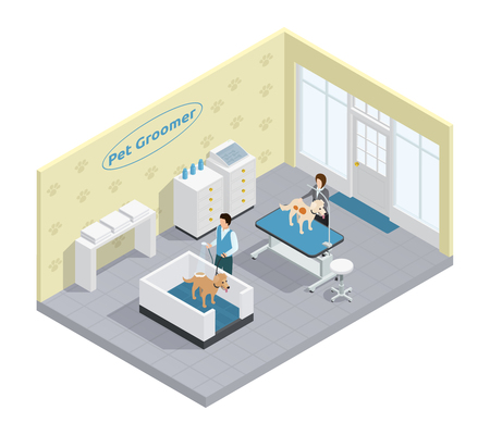 Pet groomer in pet grooming salon with dogs isometric vector illustration