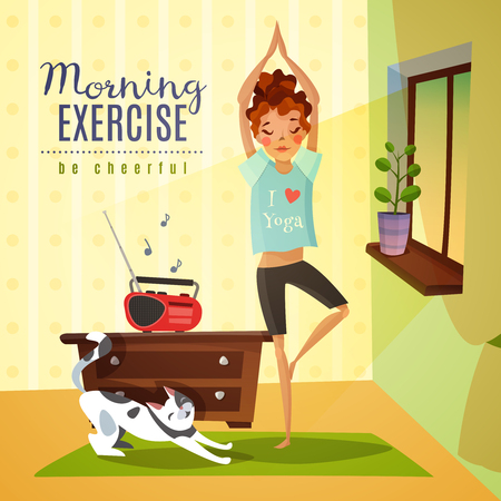 Morning awakening cartoon composition with young girl doing gymnastic fitness exercises to music flat vector illustration Illustration