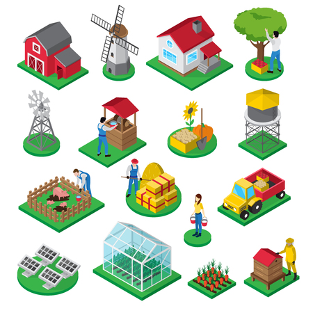 Farm isometric icons set with farmhouse windmill orchard greenhouse beehive and farmyard facilities workers isolated vector illustration