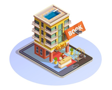 Online hotel booking isometric icon with building street view and reception service mounted on tablet vector illustration