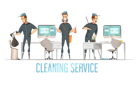premises: Cleaning service design concept with male person in uniform doing removal of waste cleaning and disinfection of premises flat vector illustration