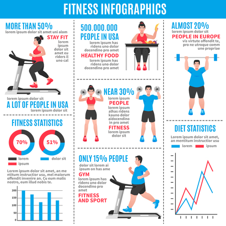 weight loss: Fitness colored infographics with diet statistics fitness statistics and percentage ratio vector illustration