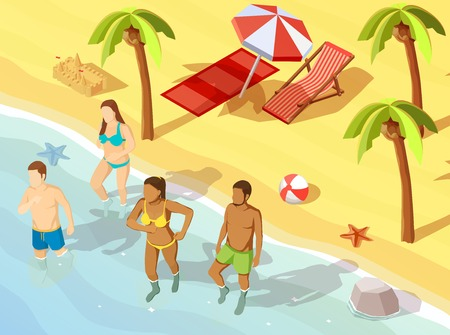 Two young couples friends on tropical beach vacation bathing in swimming suits isometric view poster vector illustration Illustration