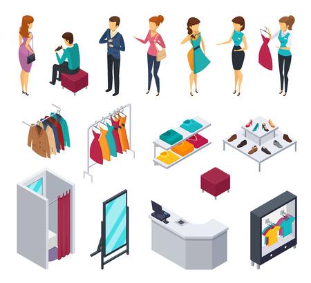 Colorido e isolado tentando comprar ícone de pessoas isométricas conjunto com acessórios e elementos de loja de roupas de mobiliário e visitantes ilustração vetorial