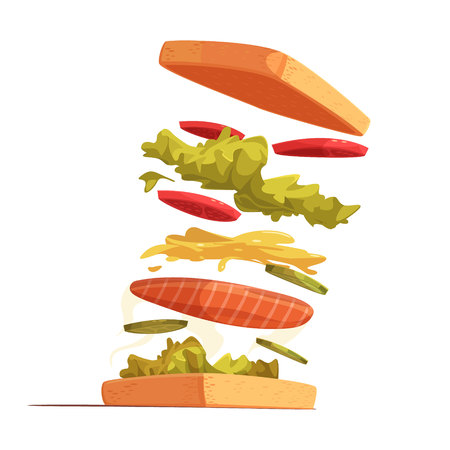 red fish: Sandwich ingredients composition with bread red fish sliced vegetables leaves of salad and mustard sauce vector illustration