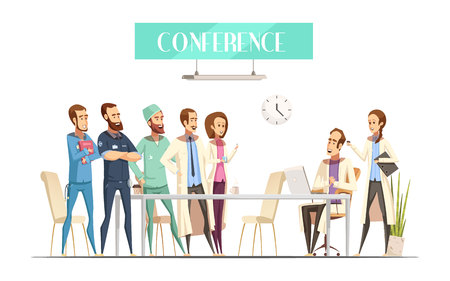 retro computer: Medical conference with audience near table and lecturer with computer and assistant cartoon retro style vector illustration