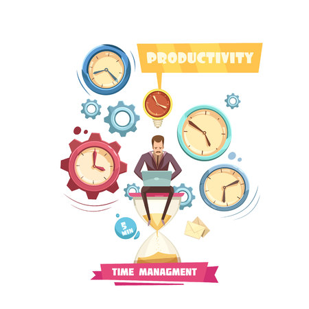 cover background time: Time management retro cartoon concept with productivity of man sitting on hourglass on white background vector illustration Illustration