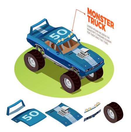 Monster truck model 4wd four runner range rover off-road vehicle kit isometric package image advertisement vector illustration