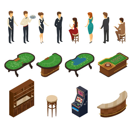 Colored and isolated casino isometric icon set with halls furniture and service personnel vector illustration Ilustração