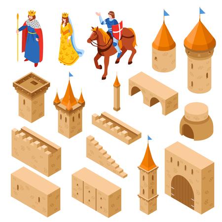 中世の城の要素を等尺性に塔と壁橋門とロイヤル家族分離ベクトル図を含む設定します。  イラスト・ベクター素材