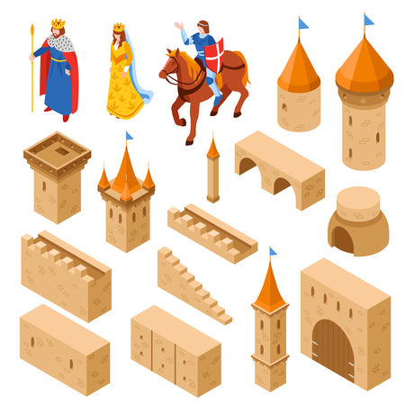 De middeleeuwse isometrische reeks van kasteelelementen met inbegrip van torens en van de murenbrug poort en koninklijke familie geïsoleerde vectorillustratie