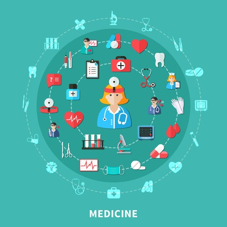 Medicine flat round composition with doctors working tools and equipment emergency care on green  vector illustration