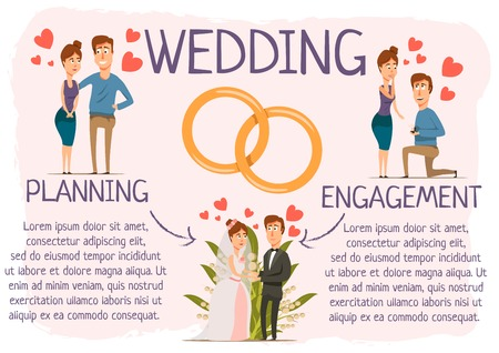 relationships human: Marriage infographics with hand drawn style dating stages with couple characters planning process and engagement rings vector illustration