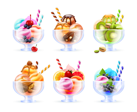 Sherbet glass assortment realistic images with colorful ice cream fruity cocktails of different colour and toppings vector illustration Illustration
