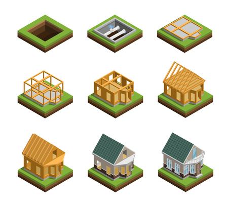 De bouwfasen van het huis isometrische pictogrammen geplaatst geïsoleerde vectorillustratie