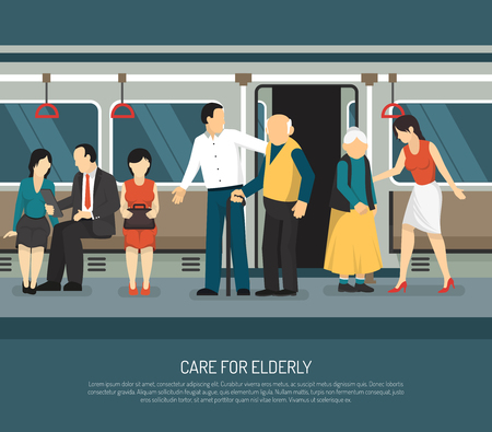 古い乗客ベクター イラストを助ける若い男女と地下鉄車両で高齢者のシーンのためのケア