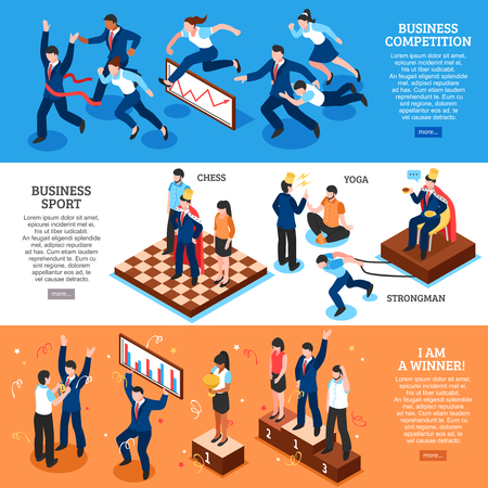 Three horizontal flat competition business banner set with business competition business sport and I am a winner vector illustration