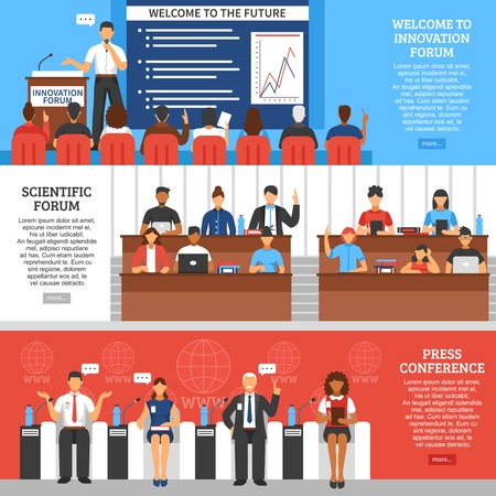 Three colored conference presentation banner set with scientific forum press conference and welcome to innovation forum descriptions vector illustration Иллюстрация
