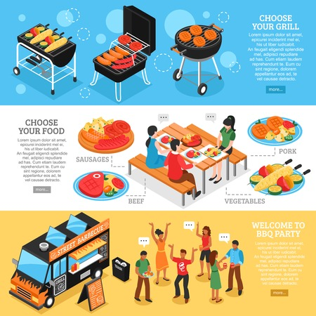 grilled vegetables: Set of 3d isometric banners with barbecue equipment grilled meat and vegetables bbq party isolated vector illustration