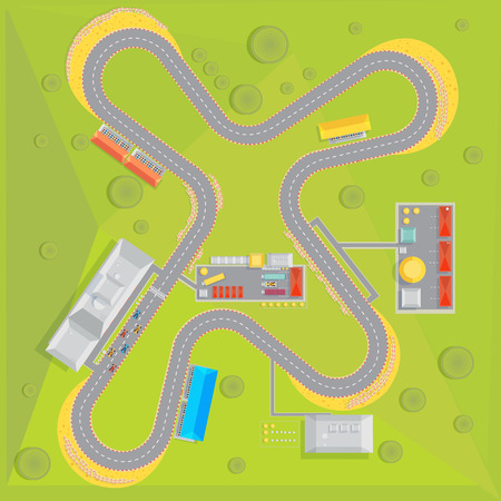 Race track composition with top view of racing course with green surrounding area and infrastructure buildings vector illustration Illustration