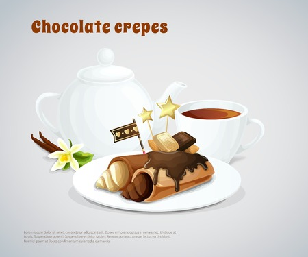 Composition with chocolate pancakes stuffing cream on dish and teapot with cup on grey background vector illustration Illustration