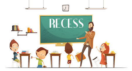 Primary school teacher announcing lunch and recess break time for children to eat retro cartoon vector illustration
