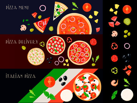 isolated ingredient: Three italian pizza horizontal banners set with isolated filler ingredient icons and decorative pizza create images vector illustration Illustration