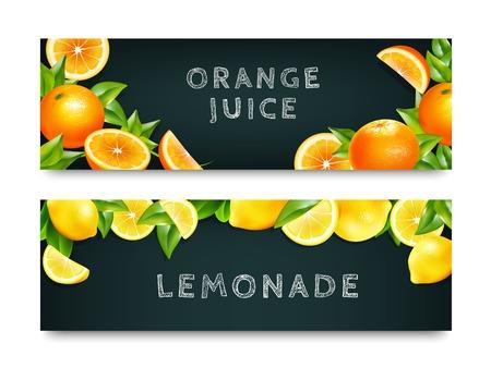 half: Orange juice lemonade 2 blackboard horizontal advertisement banners set with realistic citrus fruits border isolated vector illustration