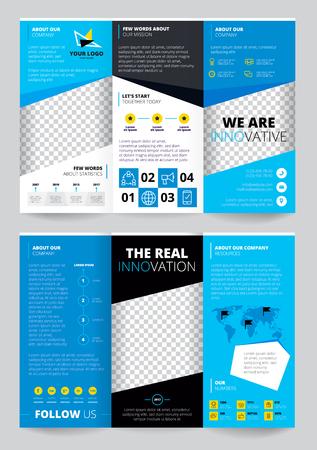 Flyer trasparent design in blue color with business information carte du monde avec pointeurs éléments infographiques illustration vectorielle Vecteurs