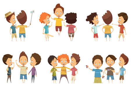 conversations: Groups of boys in colorful clothing with accessories during communication set in cartoon style isolated vector illustration