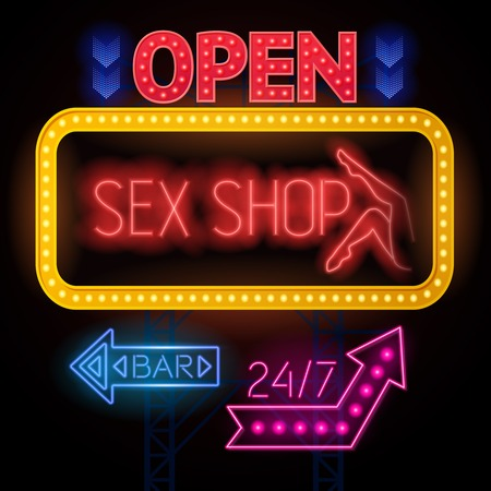 Electric sign board poster shop and twenty four hour bar colorful signs frames and arrows vector illustration