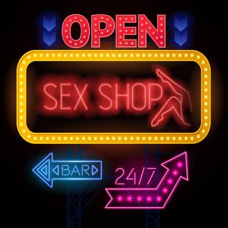 Segno bordo del manifesto negozio di sesso elettrico e venti quattro ore bar segni colorati fotogrammi e frecce illustrazione vettoriale Archivio Fotografico - 72980031
