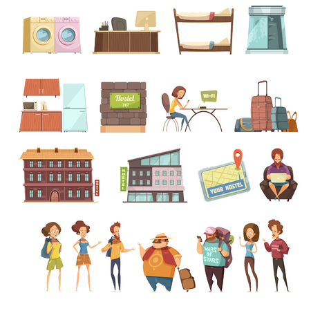 Hostel isolated retro icons set in cartoon style with backpackers guesthouse buildings and elements of hotel interior flat vector illustration Illustration