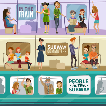 listening to music: Subway people horizontal banners set with transportation symbols flat isolated vector illustration Illustration