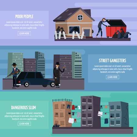 shadowy: Three colored and flat ghetto slum flat banner set with poor people street gangsters dangerous slum headlines vector illustration Illustration