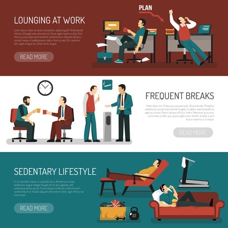 breaks: Lazy people set of horizontal banners with lounging at work frequent breaks sitting lifestyle isolated vector illustration