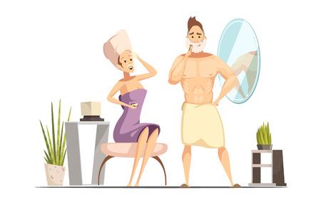 Coppia sposata procedura di rimozione dei capelli igienica in bagno di famiglia insieme con rasatura bagnato uomo fumetto illustrazione vettoriale Archivio Fotografico - 73342959