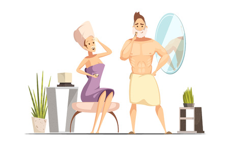 family man: Married couple hygienic hair removal procedure in family bathroom together with wet shaving man cartoon vector illustration Illustration