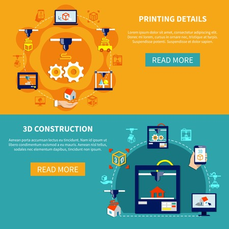 Prototyping horizontal banners set with showing printing details and 3d construction icons compositions flat vector illustration