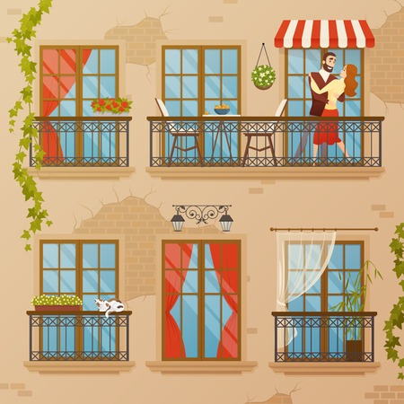 Classical architecture balconies set with flat image of townhouse wall with bricks windows decorations and bindweed vector illustration Ilustração