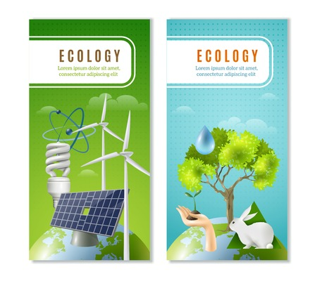 ecological environment: Clean sustainable and renewable green energy sources and environment protection 2 vertical ecological banners isolated vector illustration