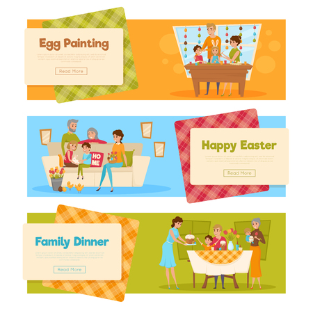 family holiday: Horizontal set of easter banners with family characters holiday activities with text and read more button vector illustration