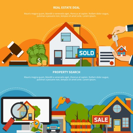 Real estate deal and property search colorful horizontal banners set flat isolated vector illustration Illustration