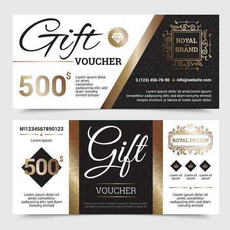 golden frames: Gift coupon royal design with golden elements ornate frames and textures crowns and diamond isolated vector illustration